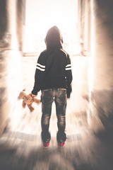 [ abduction... (chleggiero) Tags: child casual clothing rear rearviews lens lensflare indoor blur motion sunlights sun