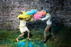 colorfull ! (tripleloutz) Tags: color splash powder yellow blue pink joy