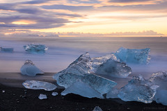 The sun is the same in a relative way (OR_U) Tags: 2016 oru iceland jökulsárlónglacierlagoon jökulsárlón glacier ice sunrise icefloat iceberg beach blackbeach pinkfloyd le longexposure water sea ocean clouds sky motion waves time blue pink orange