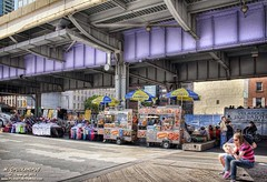 Vendors under the Franklin D. Roosevelt Drive, NYC (PhotosToArtByMike) Tags: nyc newyorkcity ny newyork skyscrapers southstreetseaport eastriver fdrdrive lowermanhattan streetvendors manhattanisland franklindrooseveltdrive