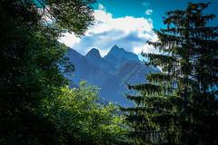 Waking up (Desiretofire: music is the shape of silence) Tags: trees sky mountain mountains nature sunshine clouds fuji natura sole fujinon altoadige sveglia sanvigilio ex2 marebbe 2014wakeup