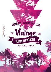 Sun & Palms Poster (DusskDesign) Tags: pink summer music sun flower sexy beach fashion festival vintage palms print poster flyer cocktail tropical psd template deephouse