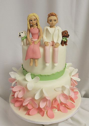 Bride Groom and Dachshunds Wedding Cake