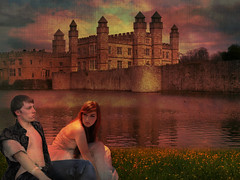 The Couple (ihave3kids) Tags: boy sunset sky woman lake man castle texture girl photomanipulation couple digitalart meadow lovers deviantart yellowflowers photoshopcompetition colorfulclouds