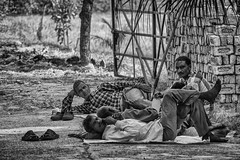 Casual Labor (Culture Shlock) Tags: street travel people blackandwhite bw india men work relax labor rest casual job unwind occupation bricklayers