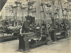 Blending the nose end (Tyne & Wear Archives & Museums) Tags: machinery ww1 firstworldwar elisabethville socialhistory birtley gunshells sirwgarmstrongwhitworthcoltd birtleybelgians nationalprojectilefactory shellmanufacture