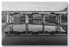 Ladder (Bugalugsrox) Tags: bridge white black reflection beach water river landscape south australia hills peninsula fleurieu myponga