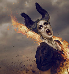 Unleashed (Clinton lofthouse Photography) Tags: composite clouds fire witch fear hell horns evil creepy flame horror demon sorrow mythology succubus demonology photmanipulation horrorphotography