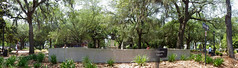 Pano of Chippewa Square, Savannah - IMGP5830 (catchesthelight) Tags: park panorama green history square downtown pano southern lazy shade spanishmoss shady liveoaks savannahgeorgia chippewasquare shadytrees oldsavannah squaresofsavannah swoopingbranches