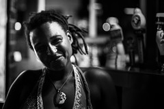 There she is (Johnny Silvercloud) Tags: people blackandwhite bw monochrome canon blackwhite women shadows dancing candid drinking highcontrast nightlife vignette individuals canon5dmarkiii lightroom5 irishpublivemusic