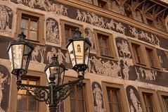 Reflexions in Prague (goerz_1) Tags: building prague decoration praga lamppost reflexion fresco repubblicaceca sigma1770 canoneos50d