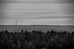 Insalubrious Horizon (Fryderyk Supinski) Tags: trees ontario canada industry nature clouds forest landscape hiking horizon canadian hike smokestacks peaks emissions hights killarneyprovincialpark laclochesilhouettetrail incosuperstack d7000