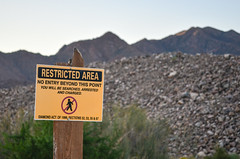 Restricted area: diamond mining in the Ai-Ais national park, Namibia (jbdodane) Tags: c13 africa aiaisrichtersveldtransfrontierpark bicycle cycletouring cycling cyclotourisme day640 diamond mining namibia recovery road sign velo freewheelycom jbcyclingafrica