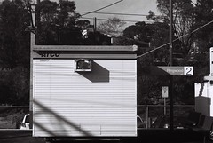 F1010004 (lonely radio) Tags: 2 signs film shadows platform australia melbourne rangefinder victoria numbers wires railwaystations atco leicam6 ringwood nikkorpc85mmf2ltm