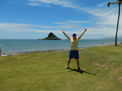 Larry at Chinamans Hat (Mokolii Island) on the windward side of Oahu - Hawaii 2014  (3) (litlesam1) Tags: hawaii oahu larry july2014 returntohawaiidaysixjuly2014