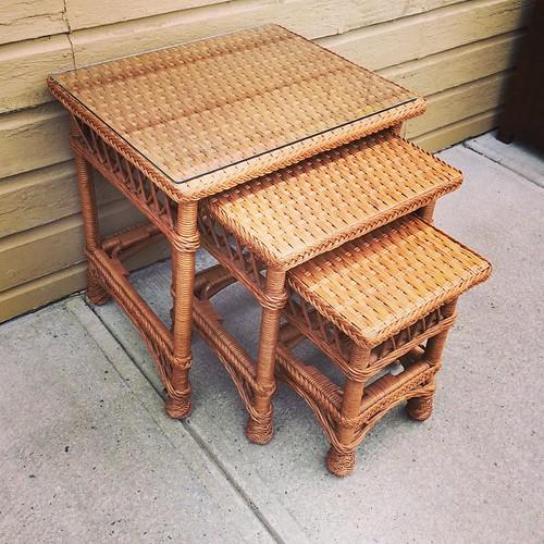 Charming Rattan Nesting Tables With Custom Glass Top $148.00. #rattan#nesting #lamodalisa