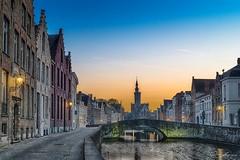 Spiegelrei in Brugge (ColognePhotograph) Tags: belgien belgium bruges brgge colors dark europe evening flandern houses light night sky spiegelrei water wasser reflection reflektion city stadt