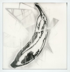 Warhol Banana (tobysx70) Tags: the impossible project tip polaroid sx70sonar sonar instant black and white bw film for sx70 type cameras impossaroid banana norman roscoe evers hardware building west hickory street denton texas tx andy warhol painting illustration pop art popup shop store window display polacon2016 polaconone 100116 toby hancock photography