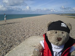 On Chesil Beach (pefkosmad) Tags: tedricstudmuffin teddy bear ted cute soft toy stuffed travel cuddly plush holiday vacation vacances holibobs piddletrenthide dorset cottage selfcatering england uk weymouth portlandbill lighthouse chesilbeach tourist tourism creamtea beach town pebbles jurassiccoast