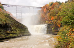 High Falls (epicDi) Tags: waterfall statepark letchworth eriehighbridge raillroadbridge train autumn geneseeriver newyork