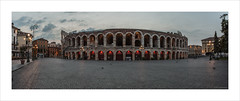 Arena di Verona (Explore 07/11/16 #46) (andyrousephotography) Tags: italy verona arena amphitheatre roman arcades streetlamps lamps lights daybreak dawn clouds pigeons people panorama elements stitch photomerge andyrouse canon eos 5d mkiii