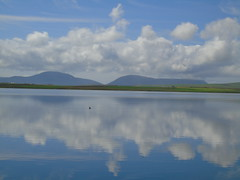 Hoy from the Harray loch (stuartcroy) Tags: orkney island harray harrayloch reflection beautiful blue bay hoy clouds colour water weather white waves
