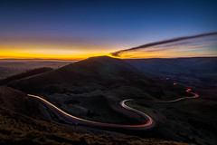 Winding Nights (Fredphoto89) Tags: peakdistrict edale road lightstreaks sunset uk landscape mamtor castleton carlight orange glow blue