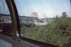 CN Super Continental 1970 , near Vancouver, British Columbia, Canada. Photo 6 of 6 (Brit 70013 fan) Tags: 1970 cn canadiannational railway railways supercontinental montrealvancouver dome observation car train pattullo bridge newwewstminster vancouver britishcolumbia canada