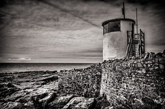 Watchtower at Porthcawl South Wales (Eyes2Me Photography) Tags: jamesmatthewseyes2mephotography porthcawl sea sand rocks water bw south wales wall steps watchtower lighthouse blackwhitepassionaward