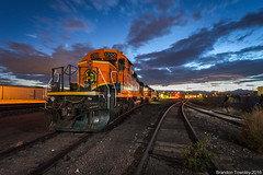 Local Power in Longmont, CO (Brandon Townley) Tags: trains railroad bnsf sunset bluehour longmont colorado flash strobes clouds sky