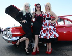 Holly, Jackie & Sharon_7406 (Fast an' Bulbous) Tags: car cars hot rod american classic automobile vehicle show dragstalgia santapod england summer people outdoor girl girls woman women hotty sexy chick babe long brunette blonde hair skirt dress wiggle circle rockabilly sunglasses stockings seamed high heels stiletto shoes model models pose pinup legs