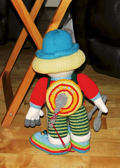 Nathan the Clown (Paddy Wack) Tags: clown dolls knitted knitteddolls knittedclown red blue yellow buttons washboard drum spoons grey handmade crafted musical nathancarter ennis
