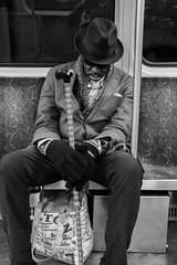 Dapper Napper (votsek) Tags: 2016 train subway underground boston man person sleep greenline nikond750 mbta street people