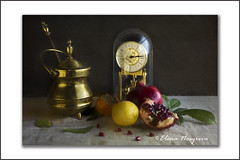_MG_7354 (Elena Nosyreva) Tags: persimmone pomegranate lemon clock still life