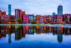 Colorful Brownstones At Dusk ((Jessica)) Tags: pw dusk bluehour backbay boston esplanade massachusetts newengland brownstones reflections sky symmetry water skyline architecture city reflection cityscape