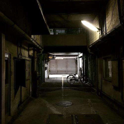 繊維問屋街にて。数えるほどしか営業してないシャッター街になっていて、押井の攻殻で哀れな清掃員を操ってたハッカーが逃げ込んだ廃墟のような、看板だけがやたらと目立つ不思議な空間になっていた。