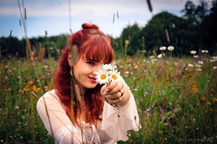 Daisies (Kalev Lait photography) Tags: portrait people redhead hayfield daisy daisies flowers wildflower nature summer blooming hippy hippie woman girl gipsy vintage vignette polar peace boho