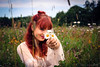 Daisies (Kalev Lait photography) Tags: portrait people redhead hayfield daisy daisies flowers wildflower nature summer blooming hippy hippie woman girl gipsy vintage vignette polar peace boho estonianwoman feminine