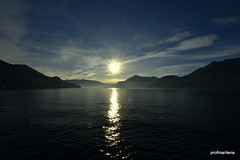 1-DSC_0317-001 jets thru the sunset , lake Como (profmarilena) Tags: lakecomo sunset landscape blue blu lago lake winter panorama paesaggio