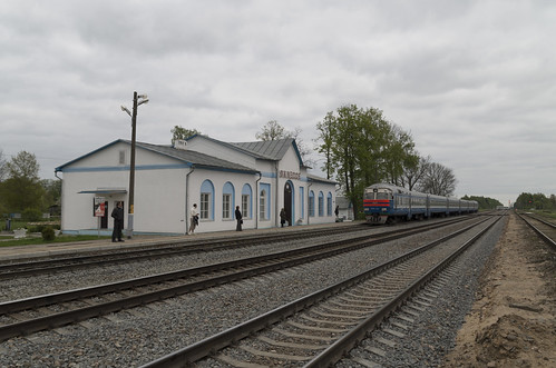Diesel train DR1A at the Zalesse railway station, 02.05.2014.