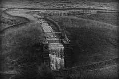 Piethorne Valley Falls (Missy Jussy) Tags: piethorne piethornevalley unitedutilities reservoir landscape lancashire land water waterfalls walls drystonewalls fields countryside mono monochrome blackwhite bw blackandwhite canon cannon600d