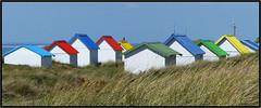 Les cabines de Gouville sur Mer - (diaph76) Tags: france manche50 paysage landscape extérieur herbe grass végétation cabinesdeplage beachcabins vacan holidays couleurs colors normandie plage beach