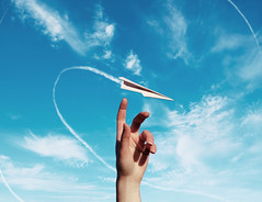 paper wishes (lauren zaknoun) Tags: airplanes bluesky clouds conceptual conceptualphotography darkphotography fairytale fantasy hands paperairplanes paperplanes sky surreal surrealphotography touchingthesky