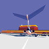 Maria Zaikina | airplane illustration (suzy_yes) Tags: airplane aviation airfield arrival departure airport vector posterized contrast industry corporate business poster realistic sky ©mariazaikina