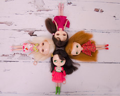 Fab Four (Button Cottage Blythe) Tags: old original vintage hair toys doll dolls all colours 4 retro 70s kenner blythe seventies kb