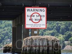 Tappan Zee Bridge Slow Speed Sign, Hudson River, New York (jag9889) Tags: bridge usa ny newyork river crossing unitedstates unitedstatesofamerica kayaking hudsonriver paddling nyack waterway westchestercounty tarrytown cantilever 2014 rocklandcounty northriver navigable k004 jag9889