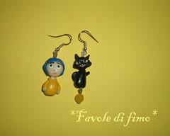 orecchini Coraline (deliadaidone) Tags: handmade fimo porta gatto nero coraline magica portamagica gattonero orecchini