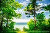 Shimmering emerald. Through the trees. (Java Cafe) Tags: trees lake seascape water clouds landscape coast horizon lakemichigan f5 cloudscape specnature