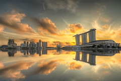 Golden Opportunity (Mabmy) Tags: city sky colors clouds sunrise canon mirror singapore cityhall sigma manual 12mm hdr mbs 1dx promontary marinabaysands manualblending