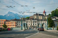 Salzburg-66 (kayteeknee) Tags: bridge urban mountains streets salzburg austria cities trams